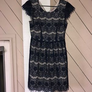 Never worn, navy lace dress, nude underlay
